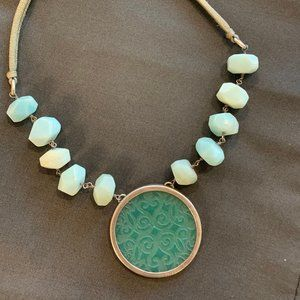 Aqua Sterling Silver Carved Amazonite  Necklace